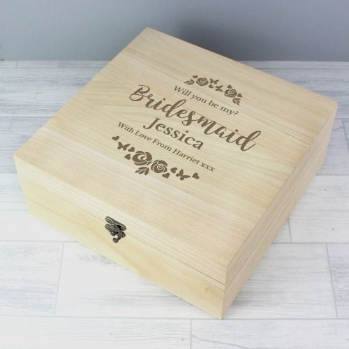 Personalised Floral Watercolour Bridesmaid Wedding Large Wooden Keepsake Box
